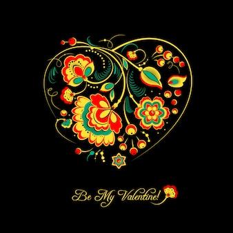 Valentinskarte mit blumen im khokhloma-stil