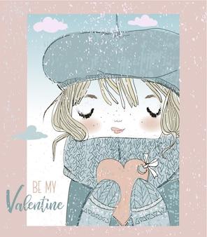 Valentinskarte mit einem mädchen und herz
