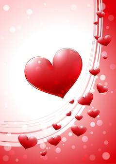 Valentinskarte mit glänzendem herzen