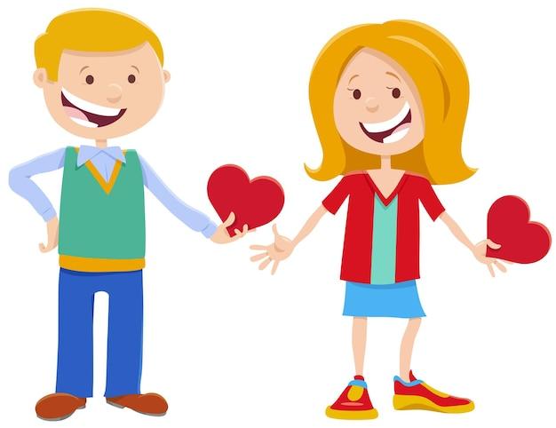 Valentinskarte mit niedlichen mädchen- und jungencharakteren