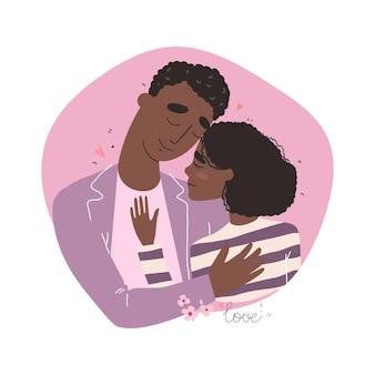 Valentinskarte mit niedlichen zeichen. liebhaber schwarzafrikaner afroamerikaner mann und frau umarmen. paar in einer verliebten beziehung.