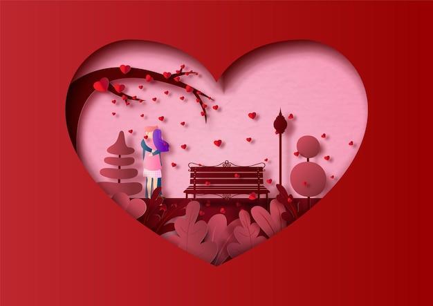 Valentinskarte mit paar im liebenden moment im papierschnittstil.