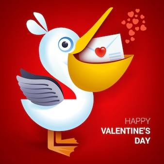 Valentinstag abbildung. pelikan, der umschlag mit herzen hält
