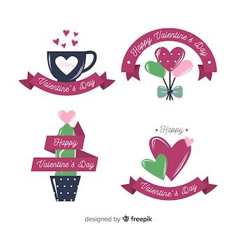Valentinstag-abzeichen-sammlung