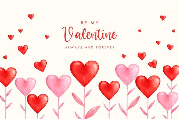 Valentinstag aquarell herz banner