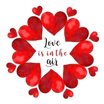 Valentinstag aquarell kranz