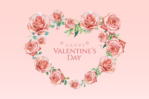 Valentinstag-aquarell-rosen-fahne