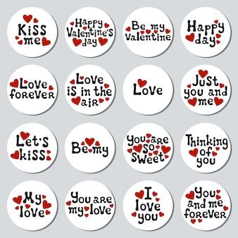 Valentinstag-aufkleber eingestellt