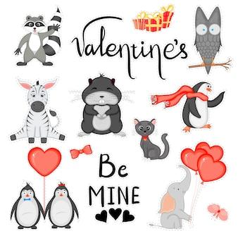 Valentinstag-aufkleber für die gestaltung von postkarten oder aufklebern. cartoon-stil. vektor-illustration.