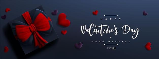 Valentinstag banner. 3d geschenkbox mit roter schleife und herzen. nettes liebesbanner oder valentinsgrußkarte.