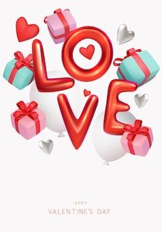 Valentinstag banner design mit stil text und geschenkboxen