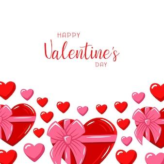 Valentinstag banner grußkarte handgezeichnete illustration