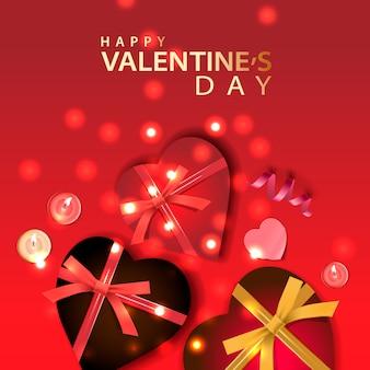 Valentinstag banner. hintergrunddesign von funkelnden lichtern, realistisches geschenkkastenformherz, dekoratives band, kerzen. feiertagsplakat, grußkarten, überschriften, website.