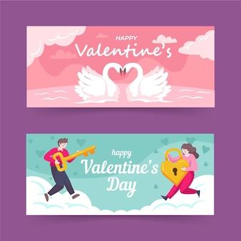 Valentinstag banner im flachen design