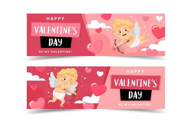Valentinstag banner mit amor charakter.