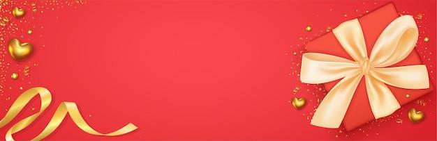 Valentinstag banner mit design der realistischen geschenkbox