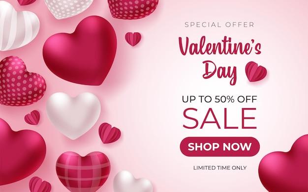 Valentinstag banner mit grußtext und herzen auf rosa