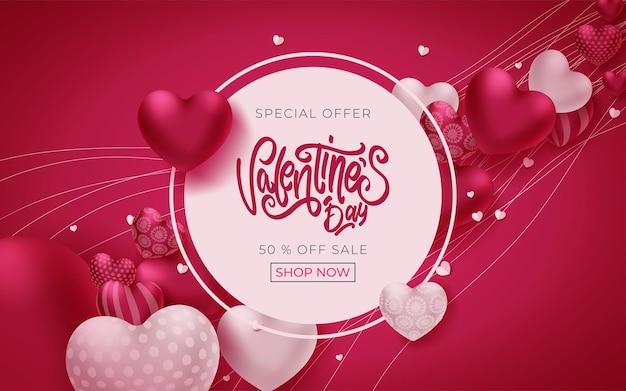 Valentinstag banner mit grußtext und herzen auf rosa Premium Vektoren