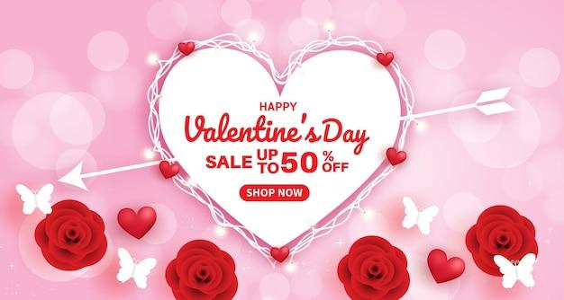 Valentinstag-banner mit herzballons auf rosa