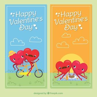 Valentinstag banner mit herzen im freien genießen