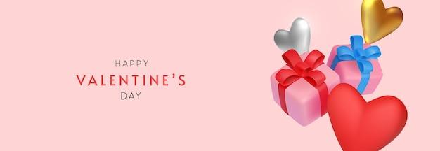Valentinstag banner mit minimalen spielzeuggeschenken und herzen