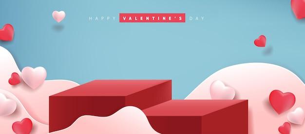 Valentinstag banner mit produktanzeige und herzförmigen luftballons.
