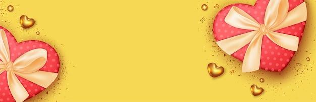 Valentinstag-banner mit realistischer geschenkbox-designdekoration