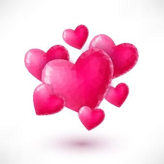 Valentinstag-banner mit rosa origamiherzen lokalisiert auf weißem hintergrund. low-poly-stil