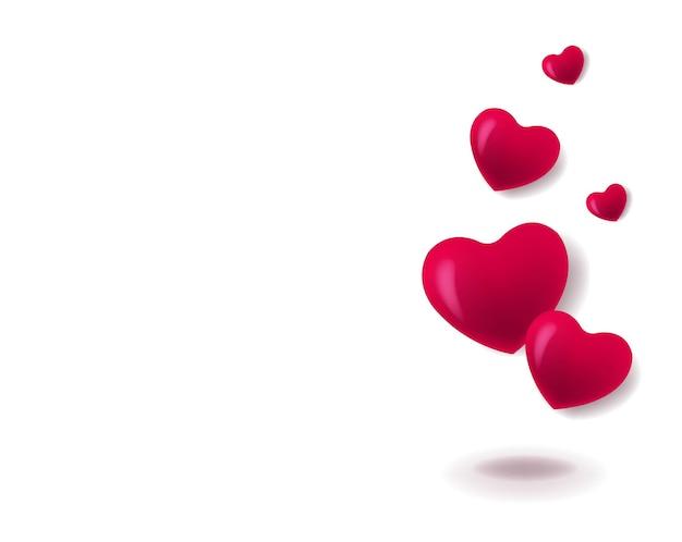 Valentinstag-banner mit weißem hintergrund der roten herzen