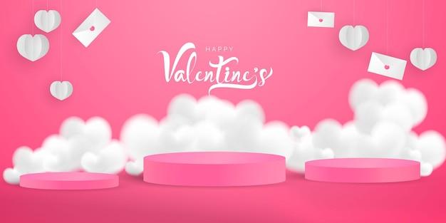 Valentinstag banner vorlage. leeres podium mit herzen und ballons
