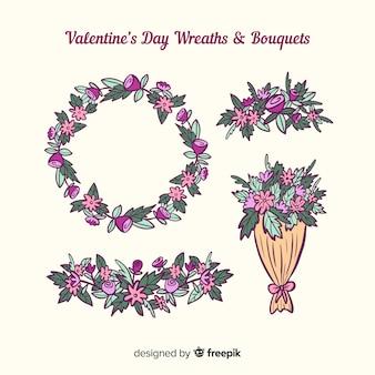 Valentinstag blumenkränze und blumensträuße