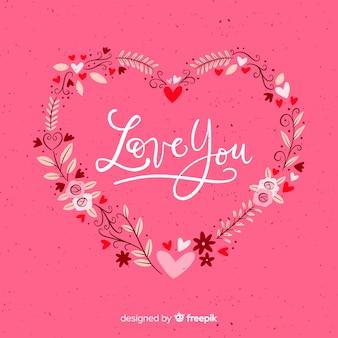 Valentinstag blumenkranzhintergrund