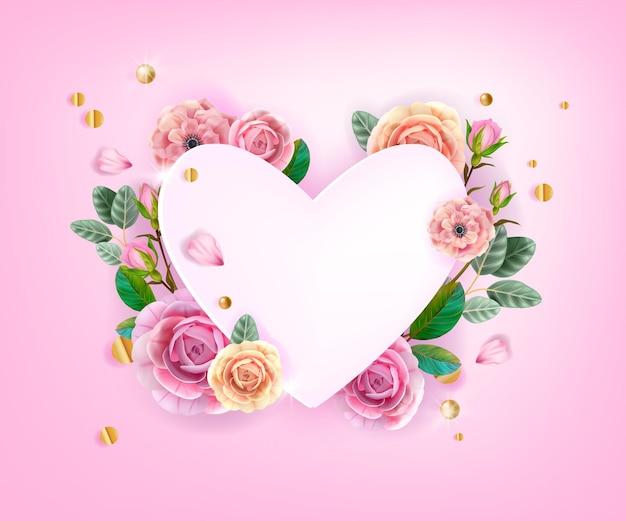 Valentinstag blumenliebe herzförmigen rahmen mit rosen, blumen, grünen blättern, knospen, blütenblättern. feiertagsromantische frühlingshochzeitspostkarte, einladungskarte. valentinstag
