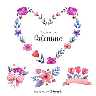 Valentinstag blumenstrauß und kranzsatz