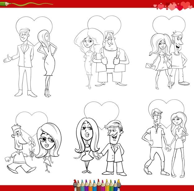Valentinstag cartoon illustration liebe mit paaren eingestellt