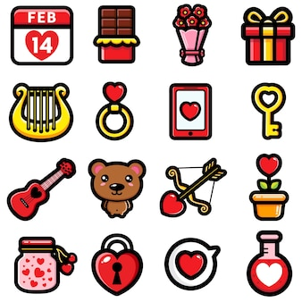 Valentinstag design niedlichen artikel bündel