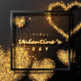 Valentinstag design. realistischer schwarzer rahmen mit luxuriösen goldenen herzen und leuchtenden lichtern.
