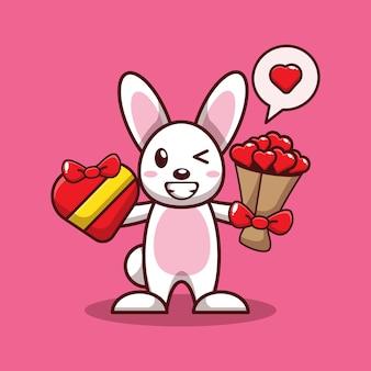 Valentinstag design von niedlichen hasen halten valentinstag geschenk und liebe blumenstrauß