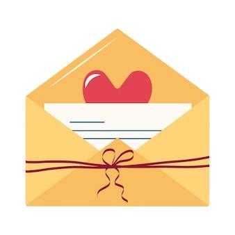 Valentinstag, einfache symbole für eine liebesbotschaft in einem umschlag, eine notiz auf einem blatt papier mit herzen, ein kuss, ein band mit schleife, mit einem schriftzug für den urlaub, party