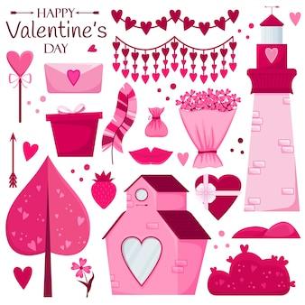Valentinstag eingestellt. rosa haus, süßigkeiten, geschenk, blumen, bäume, leuchtturm, girlande.