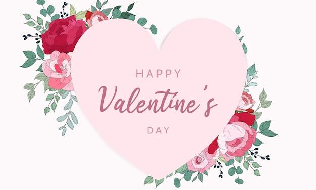 Valentinstag einladungskarte mit schönen blumen