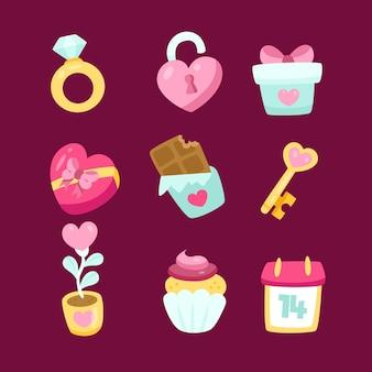 Valentinstag element sammlung design