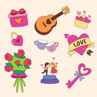 Valentinstag element sammlung zeichnen