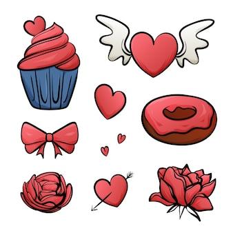 Valentinstag elemente gezeichnet