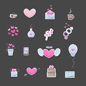 Valentinstag-elemente. satz süße handgezeichnete symbole über die liebe einzeln auf dunklem hintergrund in zarten farbtönen. glücklicher valentinstaghintergrund.