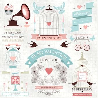 Valentinstag elemente. weinlesehochzeitsikonen eingestellt