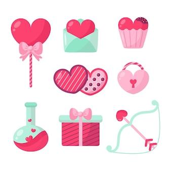 Valentinstag-elementkollektion im flachen design