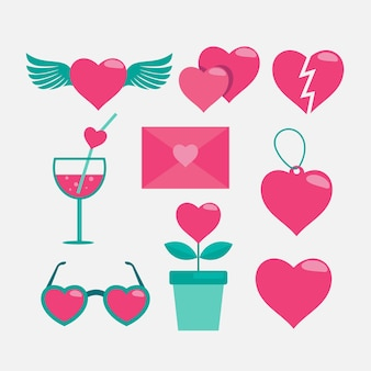 Valentinstag-elementsammlung im flachen design
