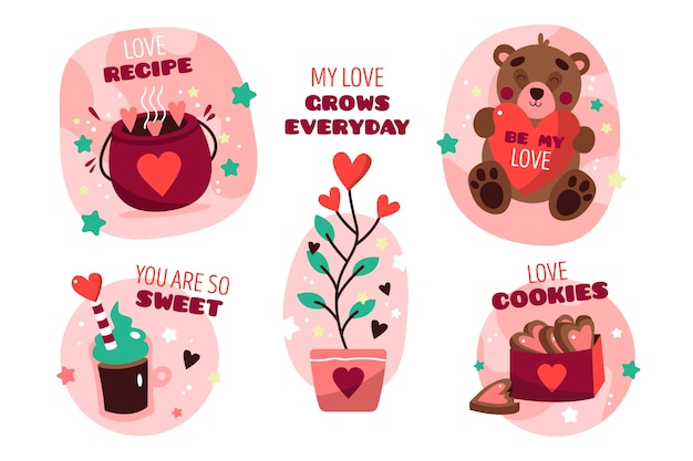 Valentinstag-etikettensammlung im flachen design
