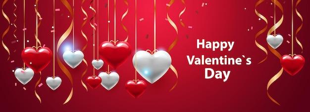 Valentinstag feier liebe banner flyer oder grußkarte mit herzen horizontale illustration